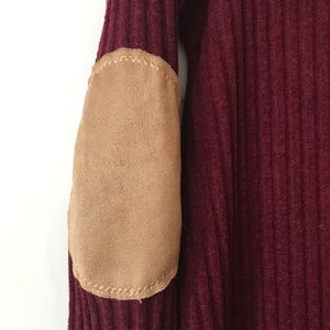 mts Dresses - Medium Dark Red Knit Dress with Suede Patches